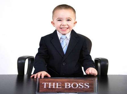 Little boy is the boss