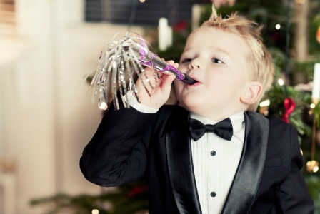 Little boy on New Year's Eve