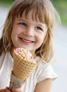 Little girl with ice cream cone