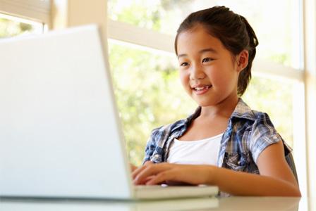 Girl in homework nook