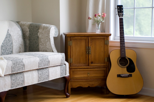 Living room with guitar