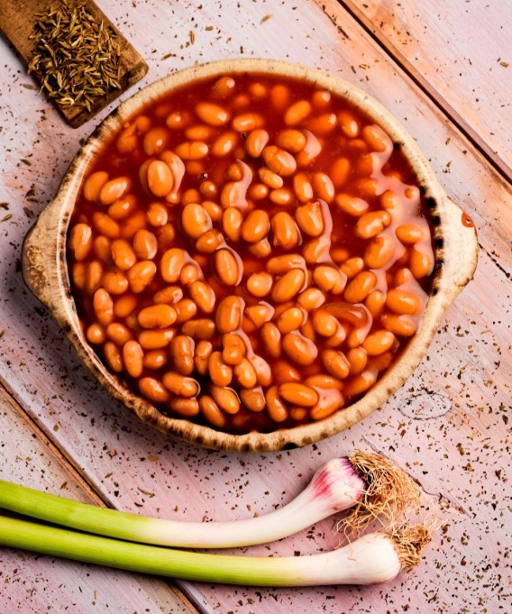 baked beans on rustic table