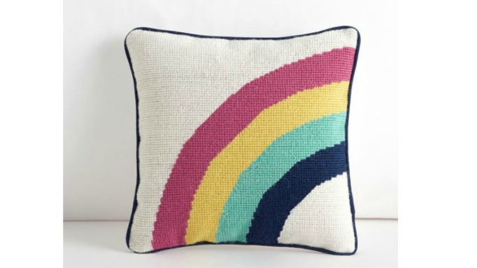 Rainbow Clubhouse Needlepoint Pillow
