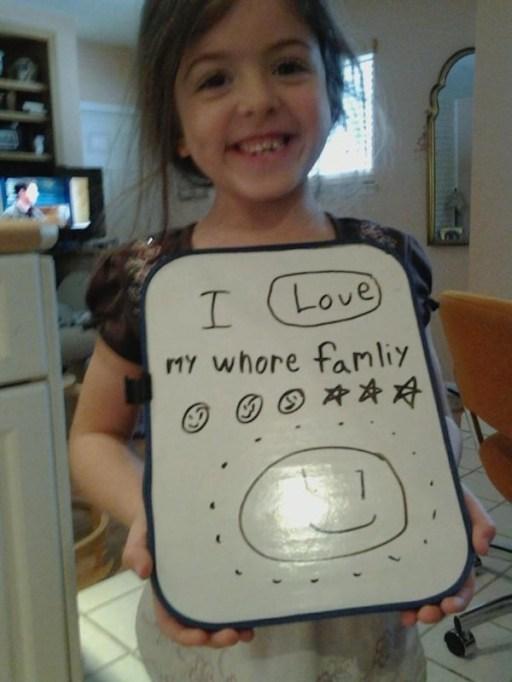 whore family kid spelling