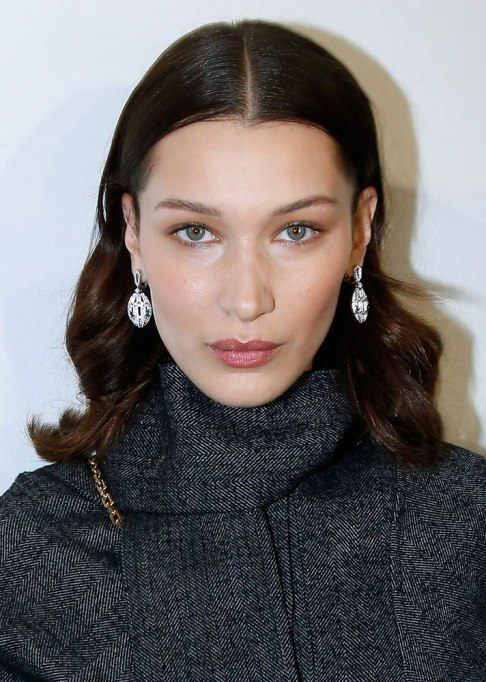 Bella Hadid Middle Part Hairstyle