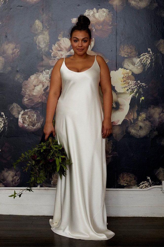 Silk Plunging Back Wedding Dress
