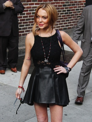 Lindsay Lohan leaves a television studio.
