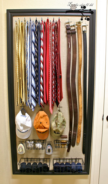 This pegboard closet organizer helps keep ties, belts and hangs in order.