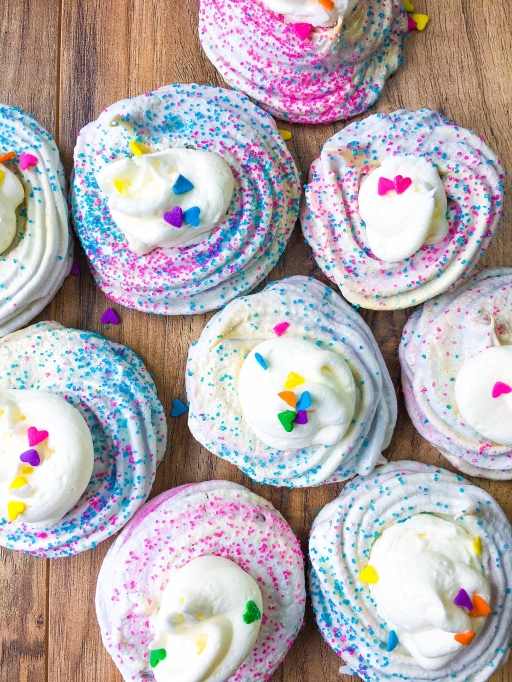 Cotton candy meringue cookies from Kellie Rice Cakes