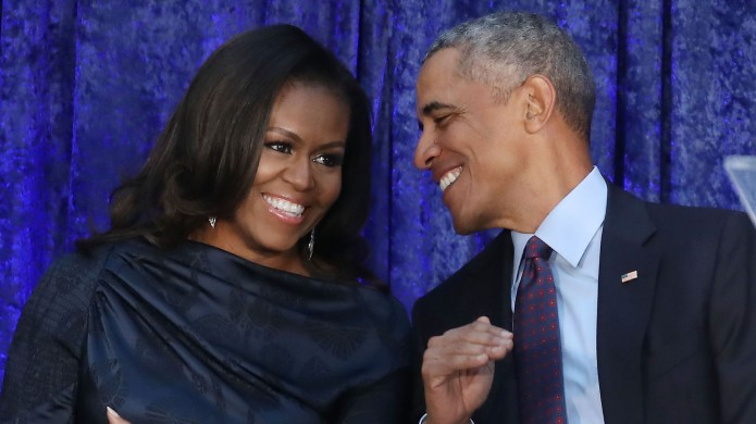 Barack Obama and Michelle Obama participate