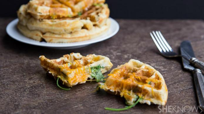 Ham, cheese and spinach waffles are