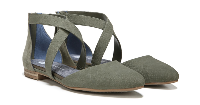 Olive green strappy flats