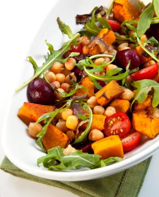 Roasted Vegetables and Chickpeas with Arugula