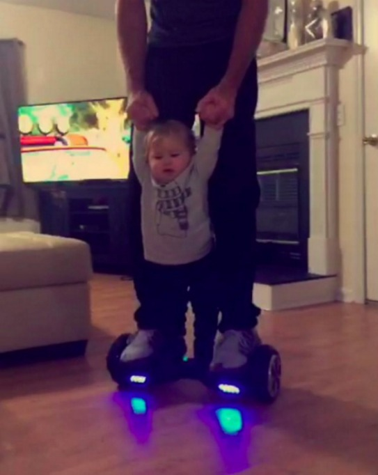Jenelle Evans baby on a hoverboard