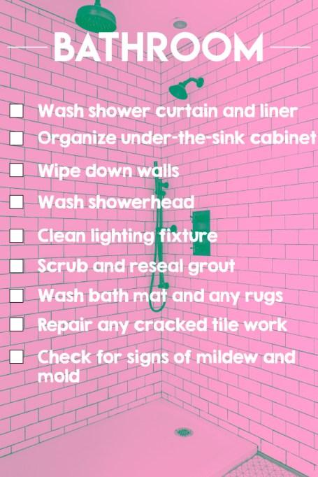 A bathroom cleaning checklist