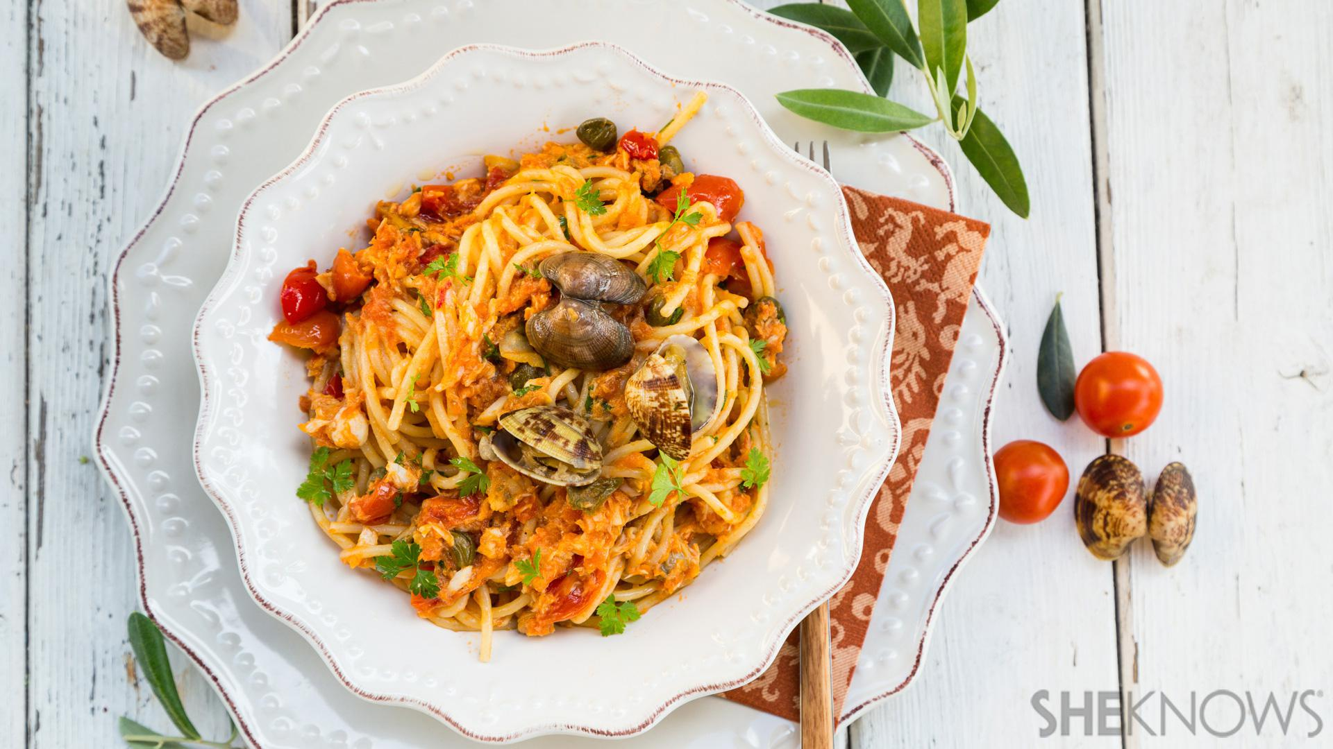 Clams Shrimp And Fish Make For A Spectacular Spaghetti With Seafood