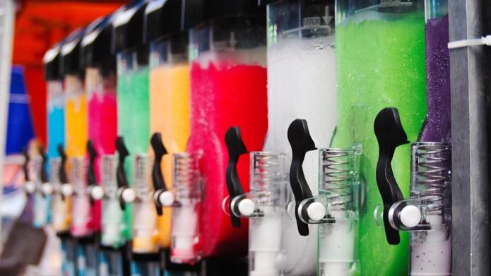 Colorful slushie machines