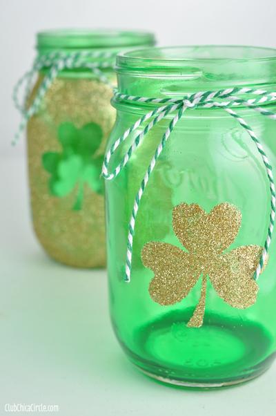 St. Patrick's Day Party Ideas: Lucky mason jar luminaries