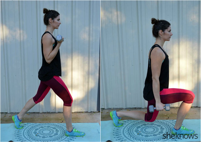 Dumbbell lunge curl