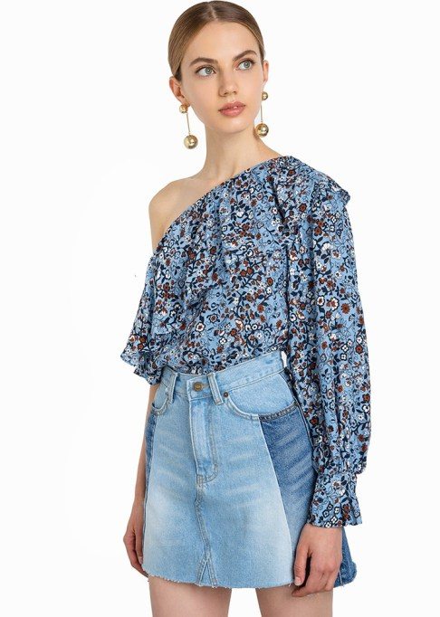 Best Lightweight Summer Tops For The Summer: Pixie Market One-Sleeve Floral Ruffled Top | Summer Fashion 2017