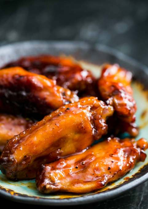 Bourbon- and maple-glazed wings
