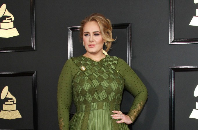 Adele attends the 59th annual Grammy Awards