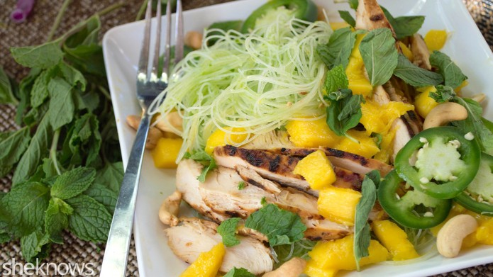 Mango-chicken rice noodle salad is a