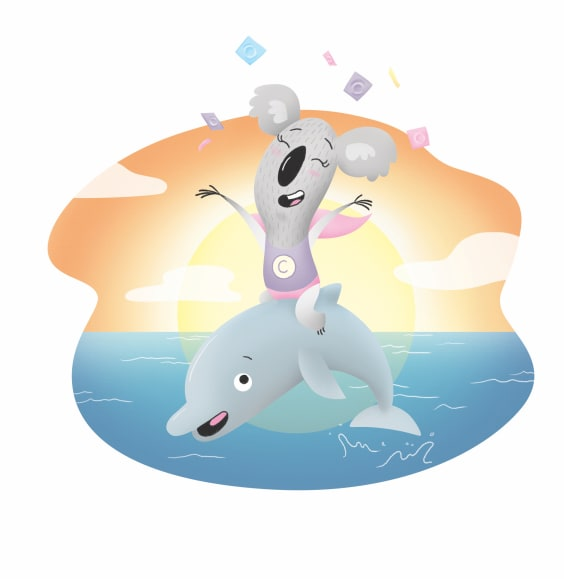 A koala riding a dolphin excitedly throwing condoms in the air.