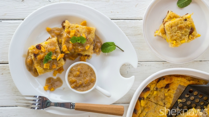 Mango-coconut bread pudding is the perfect