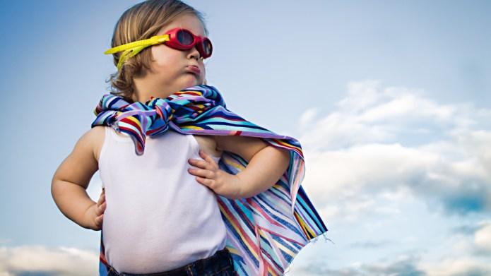 Girl dressed in a superhero costume