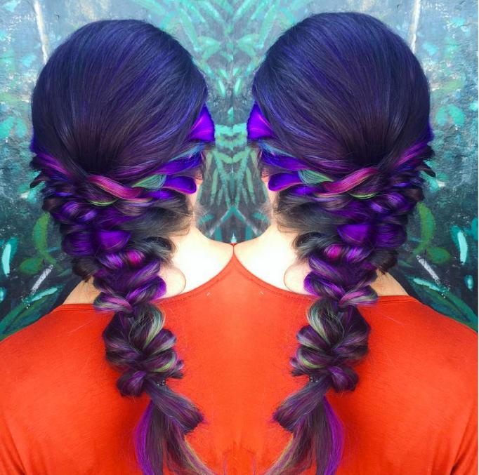 Braided peacock hair color