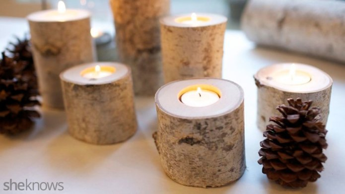 DIY birch branch tea lights put