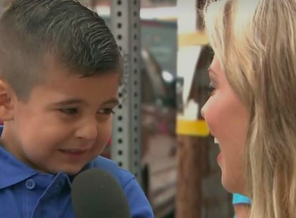 Boy bursts into tears when reporter