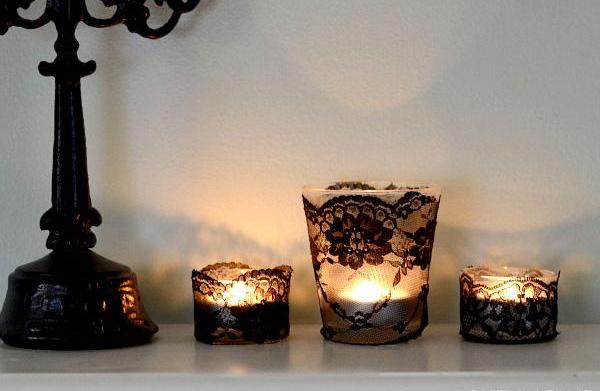 DIY black lace votives