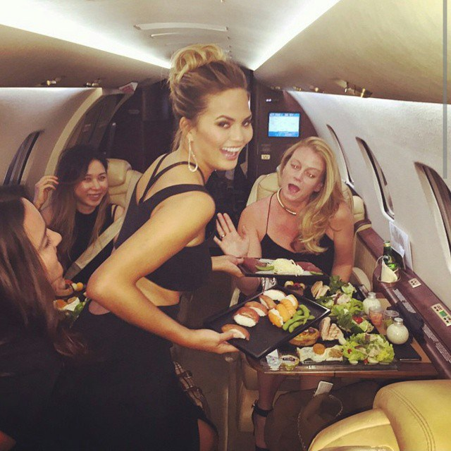 Chrissy Teigen Mouth Watering Recipes: Sushi on a private jet | Celebrity Eats