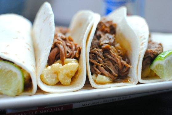 Mac and cheese carnitas tacos