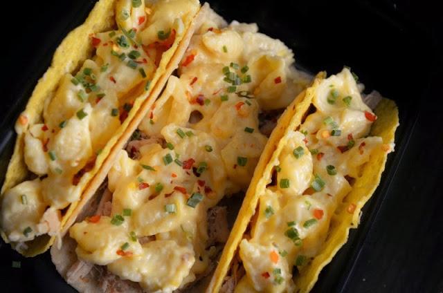 Mac and Cheese pork tacos