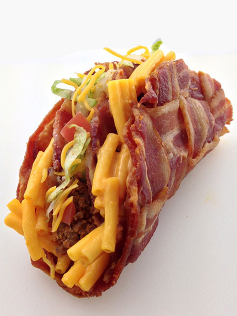 Double decker mac and cheese stuffed bacon weave taco