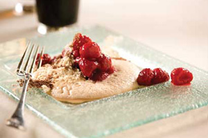 Macerated raspberries with stout foam and shaved dark chocolate recipe