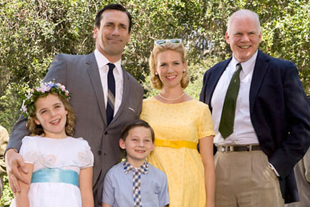 January Jones and Jared Gilmore on Mad Men