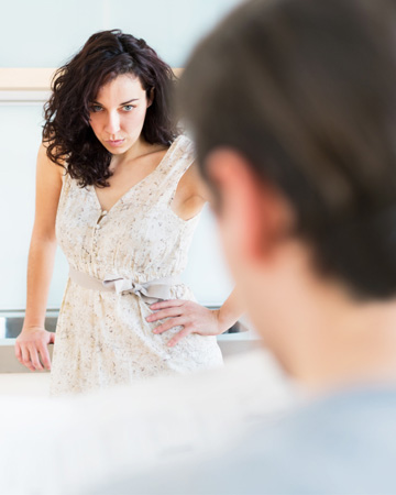 Mad woman looking at boyfriend