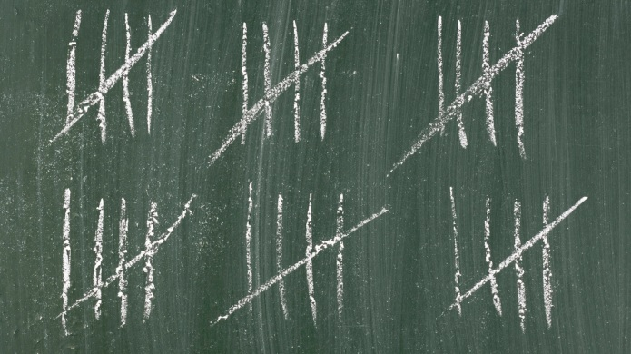counting - stripes on a blackboard