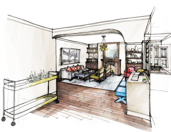 Sketch of living room