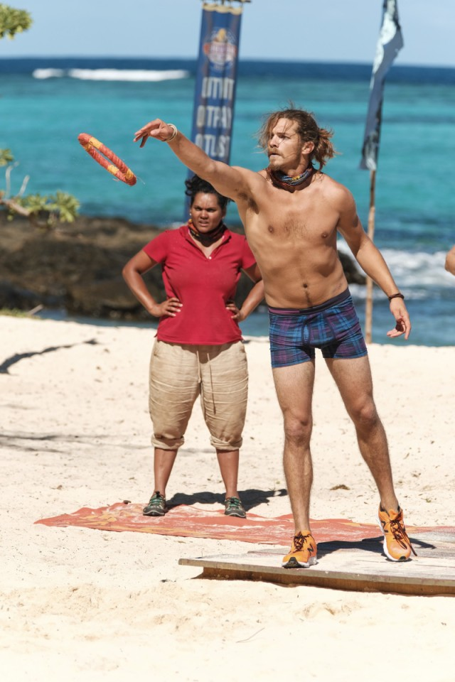 Malcolm Freberg competes in Immunity Challenge on Survivor: Game Changers