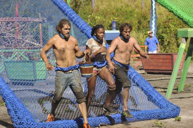 Malcolm Freberg, Michaela Bradshaw and JT Thomas compete on Survivor: Game Changers