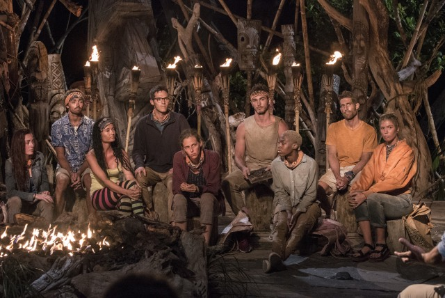 Malolo tribe at Tribal Council on Survivor: Ghost Island