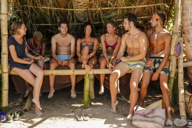 Malolo tribe sits in shelter together on Survivor: Ghost Island
