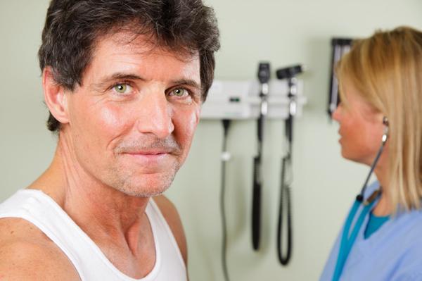 Man at checkup
