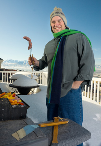 Man with Grill in Winter