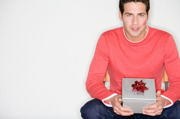 Man holding valentine gift